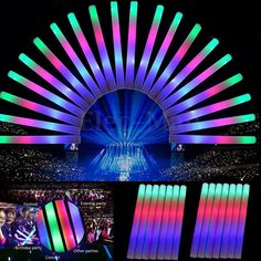 Light Up Multi Color LED Foam Glow Stick, Rally Rave Cheer Batons, Party Flashing Light DJ Wands, Giveaways, Concert Wedding Club Favors Led Light Stick, Light Up, Flash Light, Foam Glow Sticks, Glow Stick Party, Party Pops, Thing 1, Partys, Conception