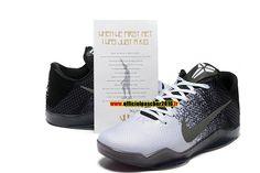 best service 8e65c 7a742 Officiel Nike Kobe 11XI Elite BHM Chaussures Nike Basketball Pas Cher Pour  Homme Noir - Blanc