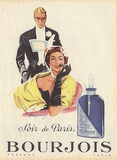 """Soir de Paris"" in the better stores...""Evening in Paris"" in the dimestore...clever marketing tool for a scent that smelled like...well, smelled..."