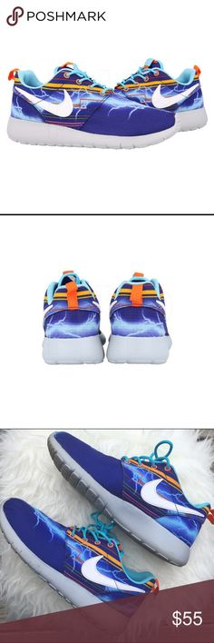 ⚡️ Nike Lightening Roshe Runs ⚡️ ⚡️ Nike Lightening Roshe Runs ⚡️  5Y = 6.5 Women's  Tag says 5Y Royal Blue x Heather Gray x Orange  Excellent Condition ✨ Smoke Free Home  15% off of 4 or more bundled items! Nike Shoes Sneakers