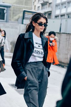 March 1, 2018 Sunglasses, Paris, Versace, Model Off Duty, Models, FW18 Women's, Kaia Gerber