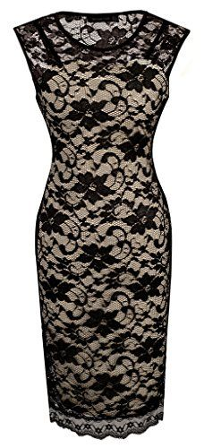 Homeyee Womens Floral Lace Cocktail Party Sheath Dress S09 (Us Size 10 Black)