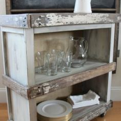 How to Turn an Old Bookshelf into a Beautiful Rolling Cart Tv Stand Makeover, Armoire Makeover, Furniture Makeover, Furniture Ideas, Decor Crafts, Diy Room Decor, Home Decor, Old Bookshelves, House Essentials