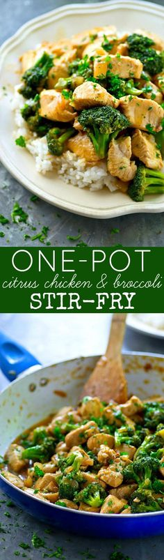 Grab one pot and a handful of simple ingredients and only 20 minutes later you'll have a skillet full of this INSANELY flavorful citrus chicken and broccoli stir-fry! Clean Dinner Recipes, Clean Dinners, Clean Eating Recipes, Healthy Eating, Paleo Dinner, Healthy Kids, Best Chicken Recipes, Meat Recipes, Cooking Recipes