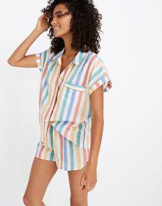 Bedtime Pajama Shirt in Stripe - PJs - BakedChicken Pajamas For Teens, Cute Pajamas, Pajamas Women, Womens Summer Pajamas, Lingerie Azul, Blue Lingerie, Cute Sleepwear, Sleepwear Women, Pajama Outfits