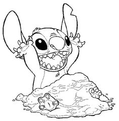 disney stitch coloring pages | ... , : Stitch Covering Himself with Sand in Lilo & Stitch Coloring Page