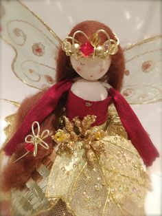 Christmas Tree Top Fairy - Ruby Red & Gold by FabulousFairyFactory on Etsy