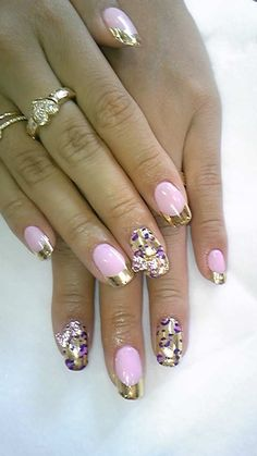 Like the pink nails with the gold french manicure tip.