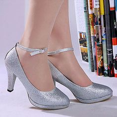 Silver Bridal Pumps Sparkling Glitter Cloth Fringe Spool Heel Round Closed Toe Wedding Shoes