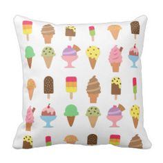 Trendy Colourful Ice Cream Desserts For Summer Throw Pillows