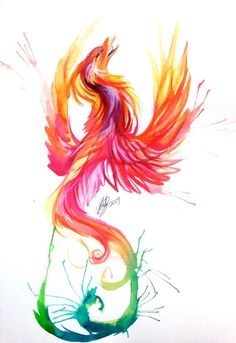 Phoenix Watercolor Design by Lucky978.deviantart.com on @deviantART