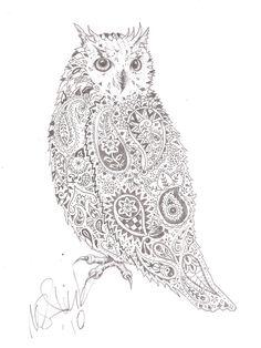 paisley owl realistic so fun to look at! For you Lisha Lou Owl Outline, Tattoo Outline, I Tattoo, Owl Tattoos, Tatoos, Octopus Tattoos, Crazy Tattoos, Mandala Tattoo, Forearm Tattoos