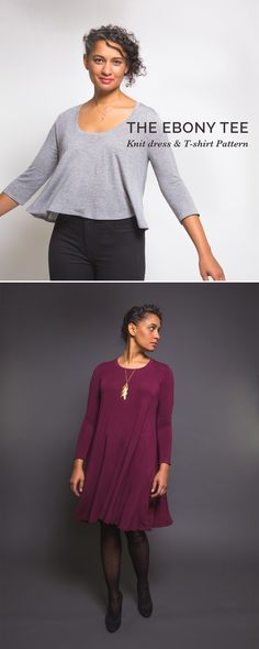 The Ebony Tee, a cozy, chic and comfortable t-shirt and dress pattern from Closet Case Patterns https://store.closetcasefiles.com/products/ebony-t-shirt-knit-dress-pattern
