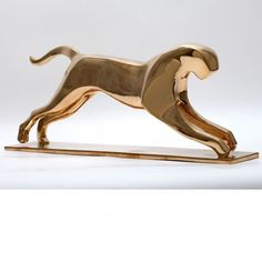 #Bronze #sculpture by #sculptor �gnes Nagy titled: 'Jumping Jaguar (Bronze stylised abstract statue sculpture)'. #�gnesNagy