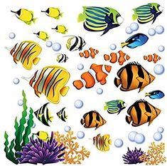 Under the Sea Tropical Fish Nursery/Kids Room Wall Art Sticker Decals from CherryCreek Decals at the Wall Decals Quotes Nursery Stickers, Wall Stickers Murals, Nursery Wall Decals, Wall Murals, Sea Nursery, Wall Vinyl, Fish Coloring Page, Coloring Pages, Piercing Implant