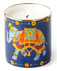 H7FUA Halcyon Days Enamels Indian Elephant Filled Candle