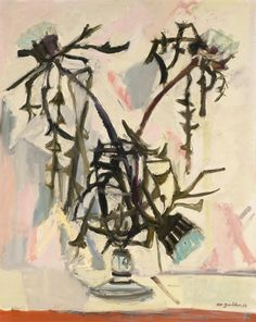 """thunderstruck9: """"Max Gubler (Swiss, 1898-1973), Thistles in a glass, 1956. Oil on canvas, 100 x 81 cm. """""""