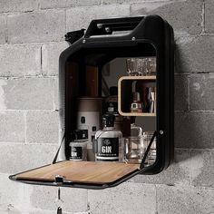 """Upcycled World War II Icon Nano Black Bar Cabinet """"A Jerry Can"""" by Danish Fuel World War icon designs."""
