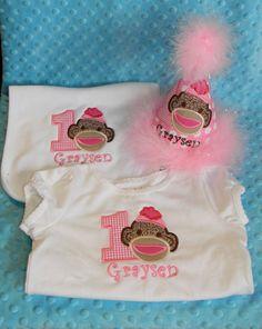 Girl Sock Monkey tshirt bib and birthday party by MommyTimeDesigns, $60.00