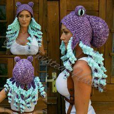 Crochet purple octopus hat