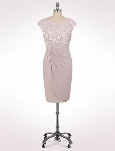 Plus Size Lace Bodice Faux Wrap Dress   Dressbarn