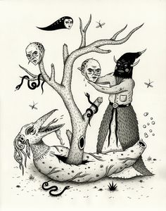 "Jon MacNair Draws   ""Harbinger of Bad Intentions"" India ink on paper..."