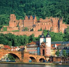 Heidelberg, Germany...good photo that shows the bridge, town and the red castle overlooking the town.