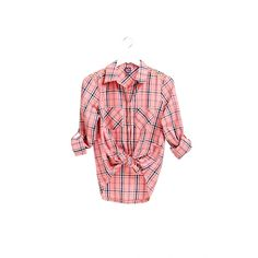 Adele Plaid Shirt ($26) ❤ liked on Polyvore featuring tops, melon kiss, red button down shirt, long sleeve button down shirts, long sleeve shirts, red top and long sleeve plaid shirts