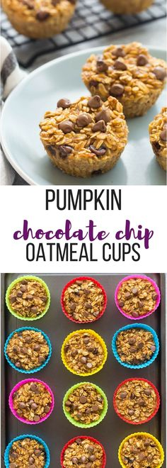 These Pumpkin Chocolate Chip Baked Oatmeal Cups are an easy and healthy breakfast, lunch or snack -- low in calories, high in protein and fiber, make ahead and freezer friendly! Includes step by step recipe video. | healthy recipe | healthy breakfast | make ahead breakfast | protein | fiber | low calorie | diet | fall |