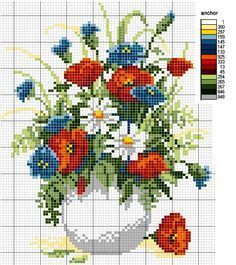 Vase with poppy and blue flowers -  http://2.bp.blogspot.com/-IAPgBpbT_YI/UhpbmWVOEWI/AAAAAAAACw4/Afcz8ldOEDE/s1600/schemi+punto+croce+vaso+con+papaveri+e+fiori+di+campo.jpg