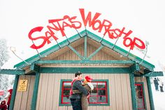 Engagement photos in front of Santas Workshop at Grouse Mountain during the Peak of Christmas | Bake Photography