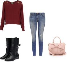 """burgundy studded jumper skinny jeans and boots"" by brandyayers on Polyvore"