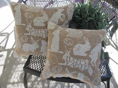 A fun burlap Plump Bunny Rabbit Greetings Pillow    The back is coordinating brownish burlap.    The pillow measures 12 x 12 and is stuffed nice and