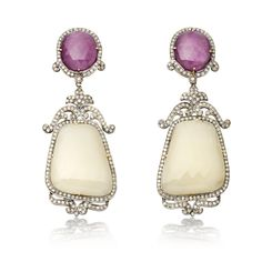White Sapphire & Ruby Art Deco-style Earrings by Amrapali