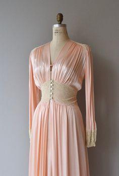 Vintage late 1930s, early 1940s blush pink crepe de chine peignoir set with lovely ecru lace bodice, wide shoulder straps, lace shoulders, tie bust,