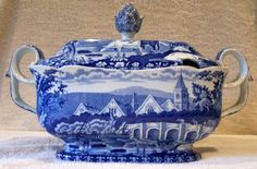 "Staffordshire Pearlware 13"" Blue Transfer Soup Tureen ~ Fishermen & Cows"