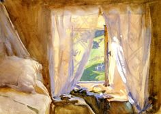 Bedroom Window John Singer Sargent circa 1909-1911 Private collection Painting - watercolor Height: 24.77 cm (9.75 in.), Width: 34.29 cm (13.5 in.)