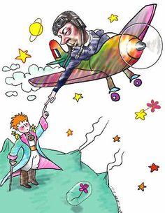 """Petit Prince et pilote image qui me fait penser de """"ET, the extraterrestre"""""""