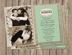 Rustic Vintage Wedding / Bridal Shower Invitation in Mint with Burlap and Lace - printable 5x7
