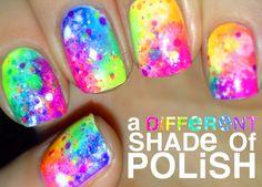Bright Nails, Neon Nails, Pink Nails, 80s Nails, Galaxy Nails, Nail Polish Designs, Cute Nail Designs, Polish Nails, Gorgeous Nails