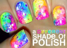 """Rainbow Nails with Neon Glitter Indie Polish """"Clowning Around"""" by Etsy Shop """"Polish Me Silly"""""""