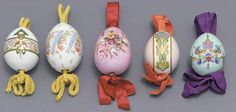 FIVE RUSSIAN PORCELAIN EASTER EGGS, LATE 19TH CENTURY