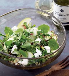 Gail Simmons' Watercress & Goat Cheese Salad with Green Apple and Toasted Nuts Honey Vinaigrette #recipe paired with Estancia #Chardonnay
