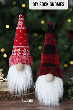 DIY sock gnomes for Christmas! Click through to learn how to make this easy Christmas craft. Christmas Crafts For Adults, Diy Crafts For Adults, Diy Christmas Gifts, Christmas Projects, Holiday Crafts, Christmas Ideas To Make, Christmas Ornaments, Simple Christmas Crafts, Christmas Crafts Sewing