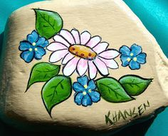 Karen's Hand Painted goods: More Rock's, Daisies, roses, rattlesnake (better s...