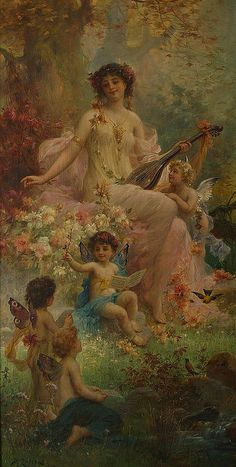 Hans Zatzka 19 century art cherubs musician lady flowers garden angels colorful bright joyful