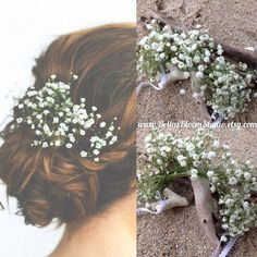 Reserved Fresh Flower crown Bridal bun wrap Baby Breath Crown