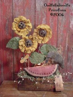Sunflowers Watermelon Crow Bee Lamp E-Pattern by oodlekadoodlePrim Summer Crafts, Fall Crafts, Halloween Crafts, Crafts To Make, Cloth Flowers, Fabric Flowers, Paper Flowers, Primitive Country Crafts, Primitive Folk Art