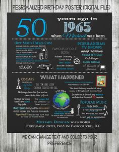 Personalized 50th Birthday Chalkboard Poster Design, 1965 Events, 50th Birthday Gift, What Happened in 1965, Blue & White, Digital File