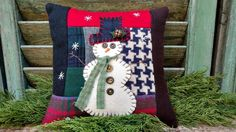 This Primitive Snowman will bring warmth to your primitive nest! Hand sewn with love, made of recycled wool and vintage buttons. Use as a chair pillow, bowl filler or shelf sitter to add warmth to your winter décor. Primitive Pillows, Primitive Stitchery, Primitive Snowmen, Potpourri, Chair Pillow, Bowl Fillers, Vintage Buttons, Hand Sewing, Christmas Stockings